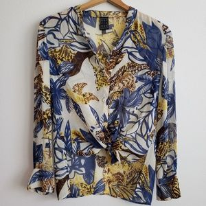 Due Per Due Silk Blouse with Floral Pattern